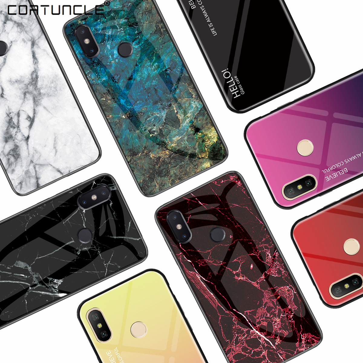 For <font><b>Samsung</b></font> Galaxy A50 <font><b>Case</b></font> Marble Grain Tempered <font><b>Glass</b></font> Gradient Protective Back Cover <font><b>Case</b></font> For <font><b>samsung</b></font> A10 A20 A30 <font><b>A40</b></font> A60 A70 image