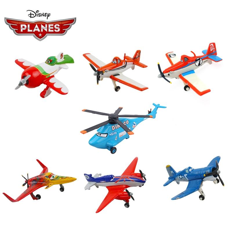 Disney Pixar-Coche de juguete de aleación de Metal fundido a presión para niños, juguete de avión para regalo de Navidad