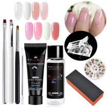 T-TIAO CLUB 9pc/ set Poly Extension Builder UV Gel Kit Nail Art Pink Color Crystal Slip Solution liquid