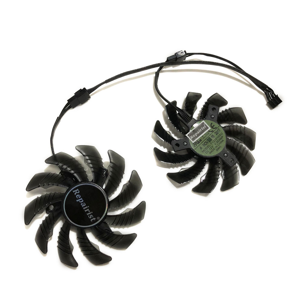 2pcs/set T128010SU GTX1050 GPU Graphics Cooler Fan For Gigabyte GTX 1050Ti 4G GeForce GTX 1050 OC 3G/2G Video Card Cooling image