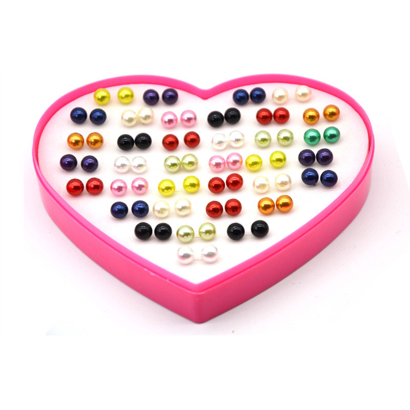 36 Pair 8 mm Pearls Earrings Fashion Peach Heart Box Earrings Accessories Stud Earrings Set For Prevent Allergy Women Gift