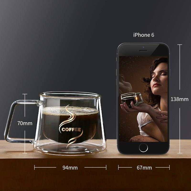 Креативная двухслойная стеклянная кружка, высокое качество, офисный домашний стол, чашка, теплоизоляция, чай, молоко, кофе, кружки, стол, гор...