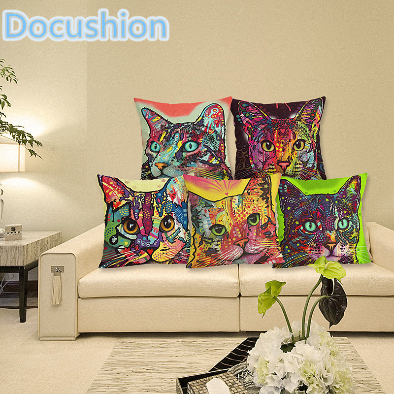 2015 Fashion New Cushion Cat Print Pillow Bed Sofa Home Decorative Pillow Fundas Para Almofadas Cojines