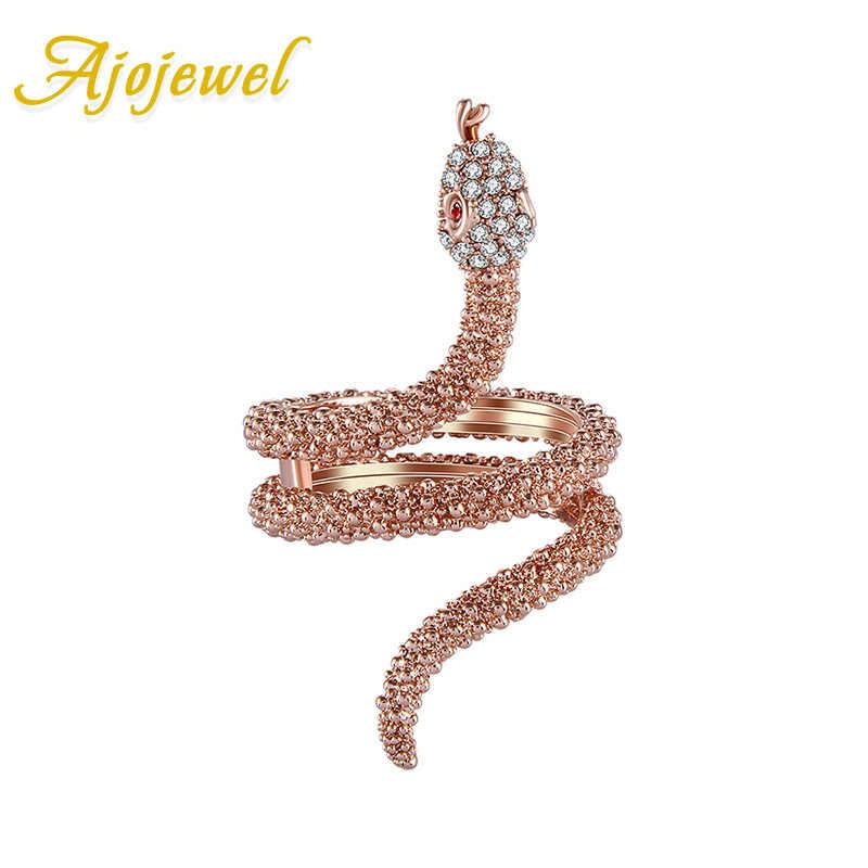 Ajojewel נשים של רוז זהב-צבע קריסטל נחש טבעת מותג AAA Rhinestones בעלי החיים תכשיטי Boucle D'oreille משלוח חינם
