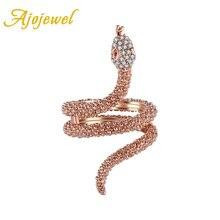 Anillo de serpiente de cristal de color oro rosa para mujer, marca AAA, diamantes de imitación, joyería Animal, Boucle D'oreille envío gratis