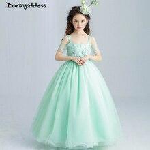 2017 New Arrival Mint Green Princess Flower Girl Dresses for Weddings Tutu Appliques Kids Party Prom Dress First Communion Dress