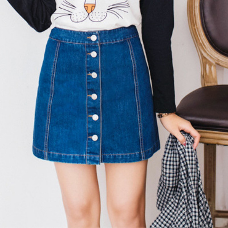 New  New Women New A-Line Denim Skirts Single Breasted Jeans Skirts High Quality Jeans Skirt Fashion Casual midi 4 Season