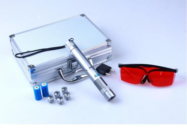 high power blue laser pointers 100000mw/100w 450nm burn match/dry wood/black plastic/cigarettes+5 star caps+glasses+charger+box