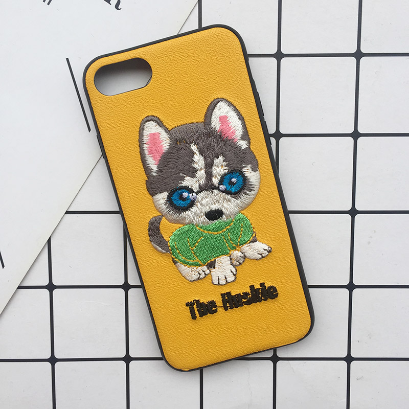 Tfshining Cute 3D Embroidery Cover Case For iPhone XS Max XR X 6 6s 7 8 Plus Soft Full Dog Teddy Pug Husky Dog Mobile Phone Case (5)