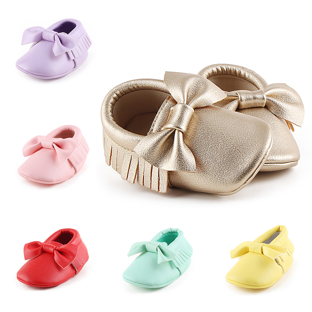 Baby Shoes Newborn Infant Boy Girl First Walker PU Sofe Sole Princess Bowknot Fringe Toddler Baby Crib Shose Casual Moccasins