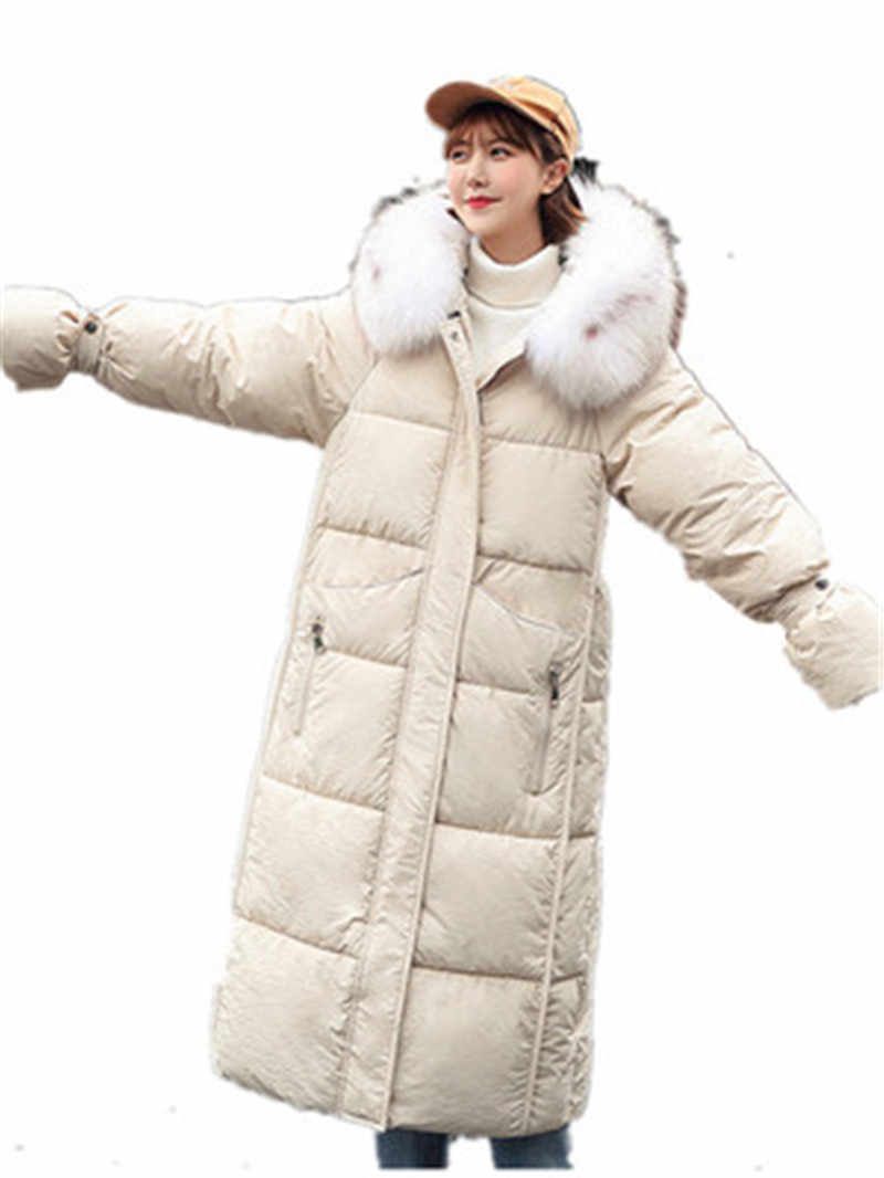 d07616f40 2019 winter coat women Colorful Big fur collar Hooded Thick Down  Cotton-Padded Parkas mujer long Jacket coat female warm outwear