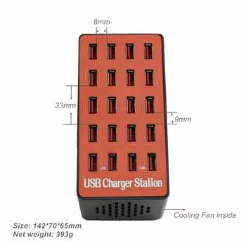 Phone Fast USB Smart Charger 20 USB Ports Output 5V Fast Charging Station Power Adapter for Tablet Laptop Camera