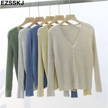 Knitted Long Sleeve V-Neck Solid Loose Cardigan