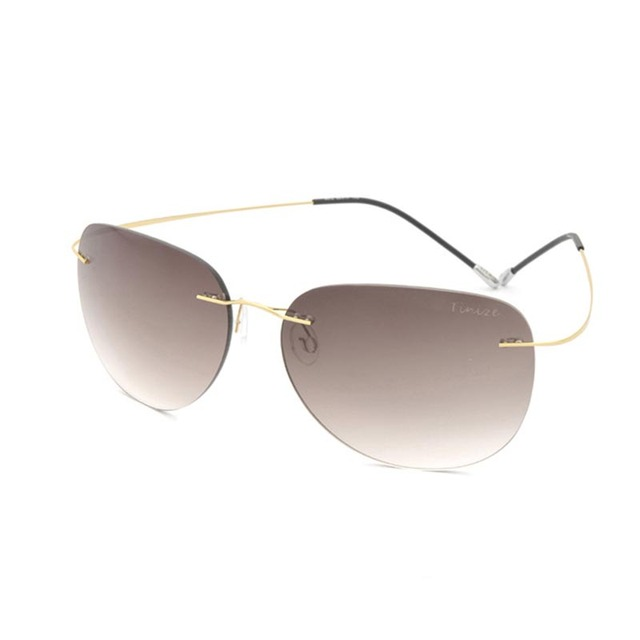 2016 Retro luxury brand designer Oval Rimless sunglasses Titanium Ultralight sunglasses for men and women Driving mirror