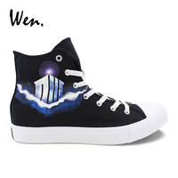 Wen Hand Painted Design Shoes DW Police Box High Top Black Canvas Unisex Sneakers Adult Rope