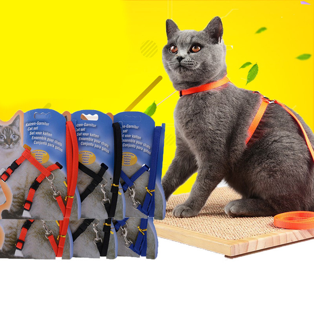 Cat Dog Collar Harness With Leash Adjustable Cat Harness Collar For Kitten Kitty Puppy Pet Product Supplies Cat Dog Accessories