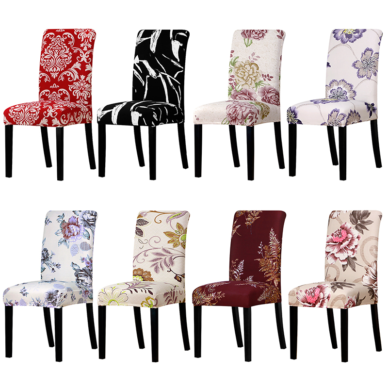 Flower Printing Universal size Chair Cover stretch seat chair covers for Wedding Banquet Restaurant Hotel Dining home decoration
