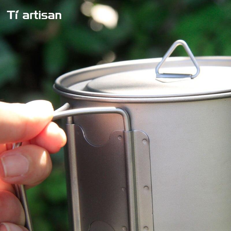 tiartisan 900ml pote de titanio puro acampamento 04