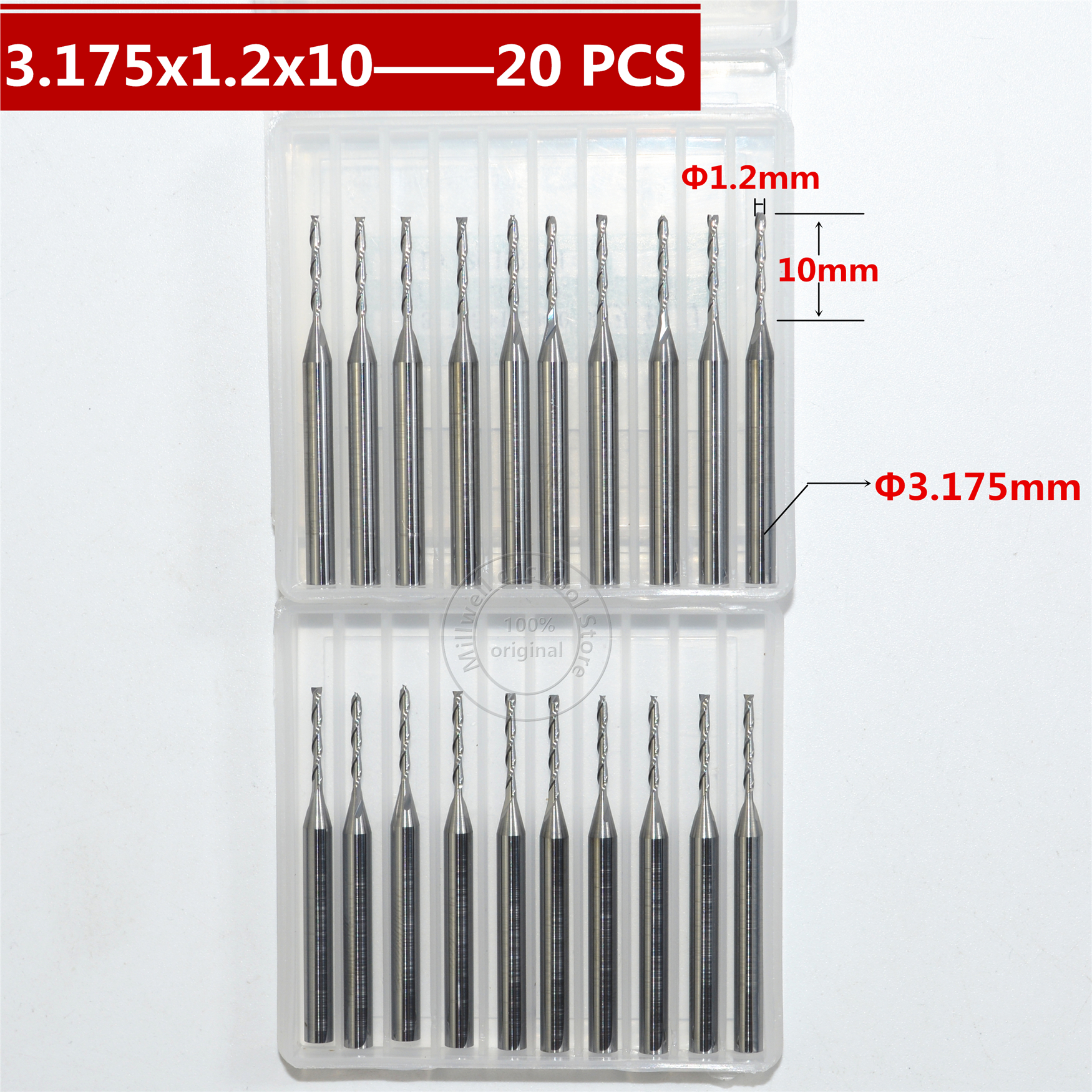 3 175mm 1 2mm 10mm Freeshipping CNC wood tools carbide End Mill woodworking insert router bit
