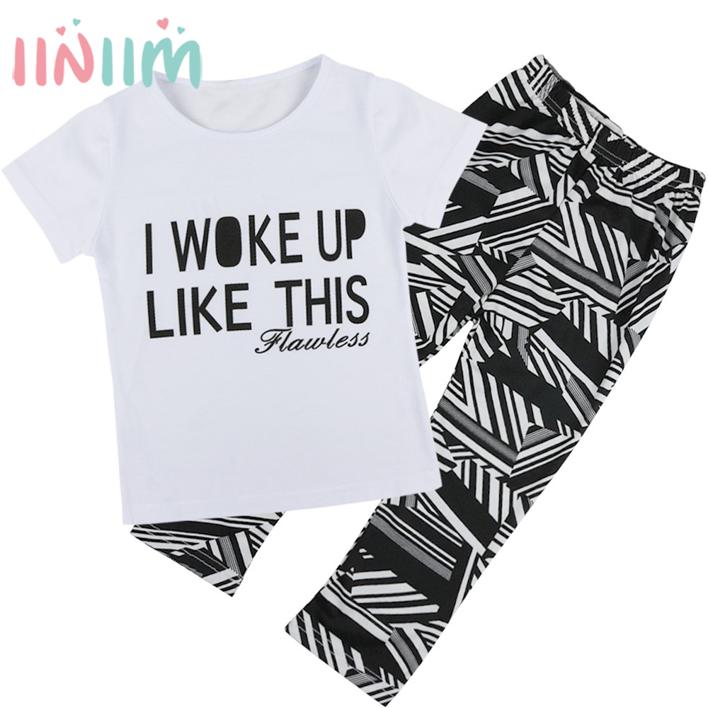 2pcs Baby Kids Girls T-shirt Tops Pants Cotton Outfits Set Girls Clothing Holiday Summer Clothes for 12 Months-7 Years x56 kids baby boys summer t shirt tops stripe beach pants outfits clothes sets 1 5y hot