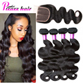 Brazilian 4 Bundles Body Wave With Closure Brazilian Human Hair Weft With Closure Unprocessed Brazilian Virgin Hair With Closure