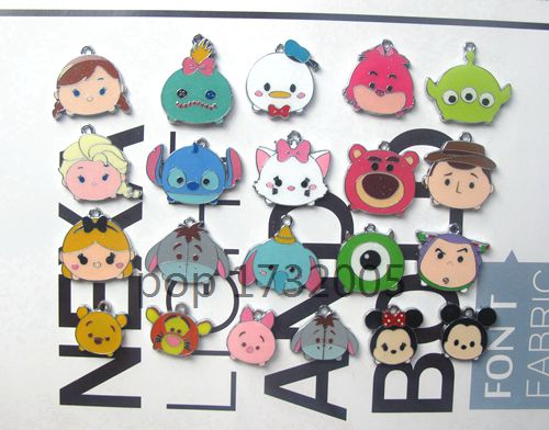 Hot Sale 200 pcs Cartoon mix stitch mickey minnie eye duck eeyore princess head Charm Pendants