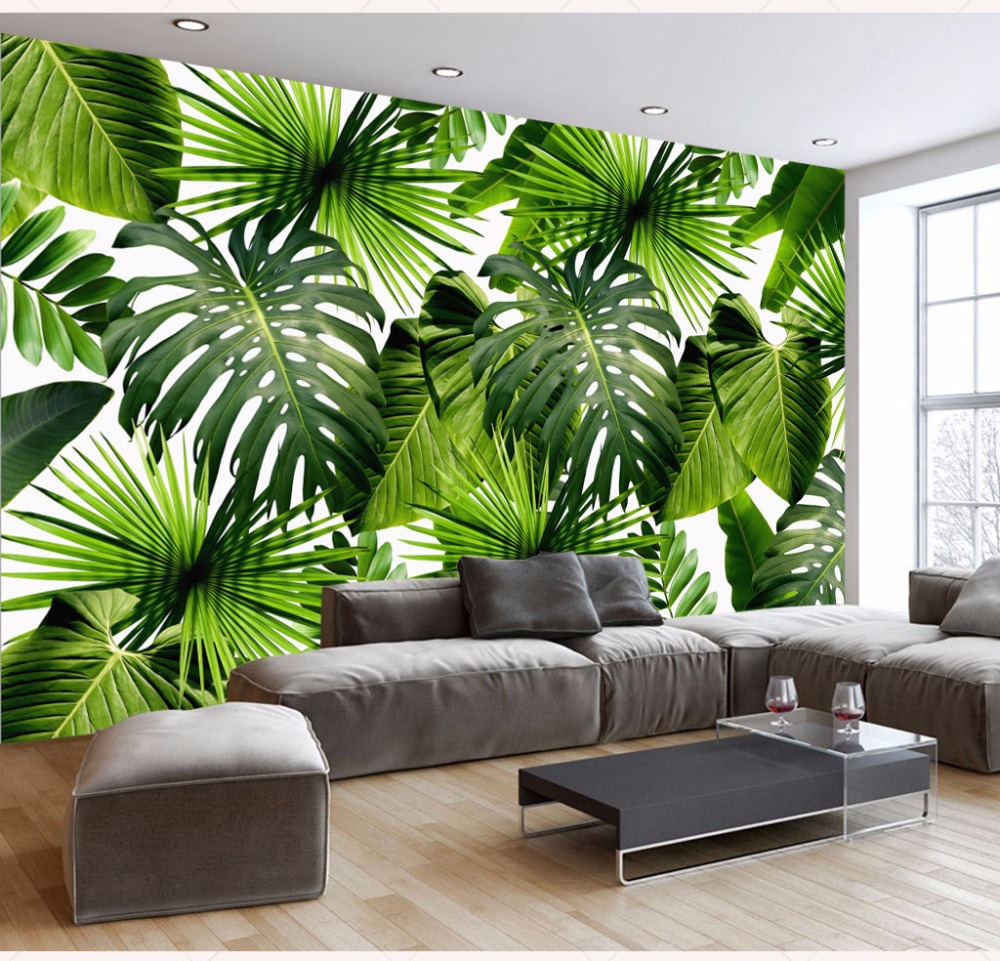 Tropical Rainforests Plant Banana Leaf Wallpaper Murals 3d Wall Photo Mural for Living Room 3d Wall paper 3d Wall Mural custom photo wallpaper 3d wall murals balloon shell seagull wallpapers landscape murals wall paper for living room 3d wall mural