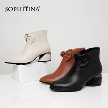 SOPHITINA Butterfly-knot Design Boots Sexy Pointed Toe High Quality Cow Leather Shoes Round Heel New Womens Ankle PO223