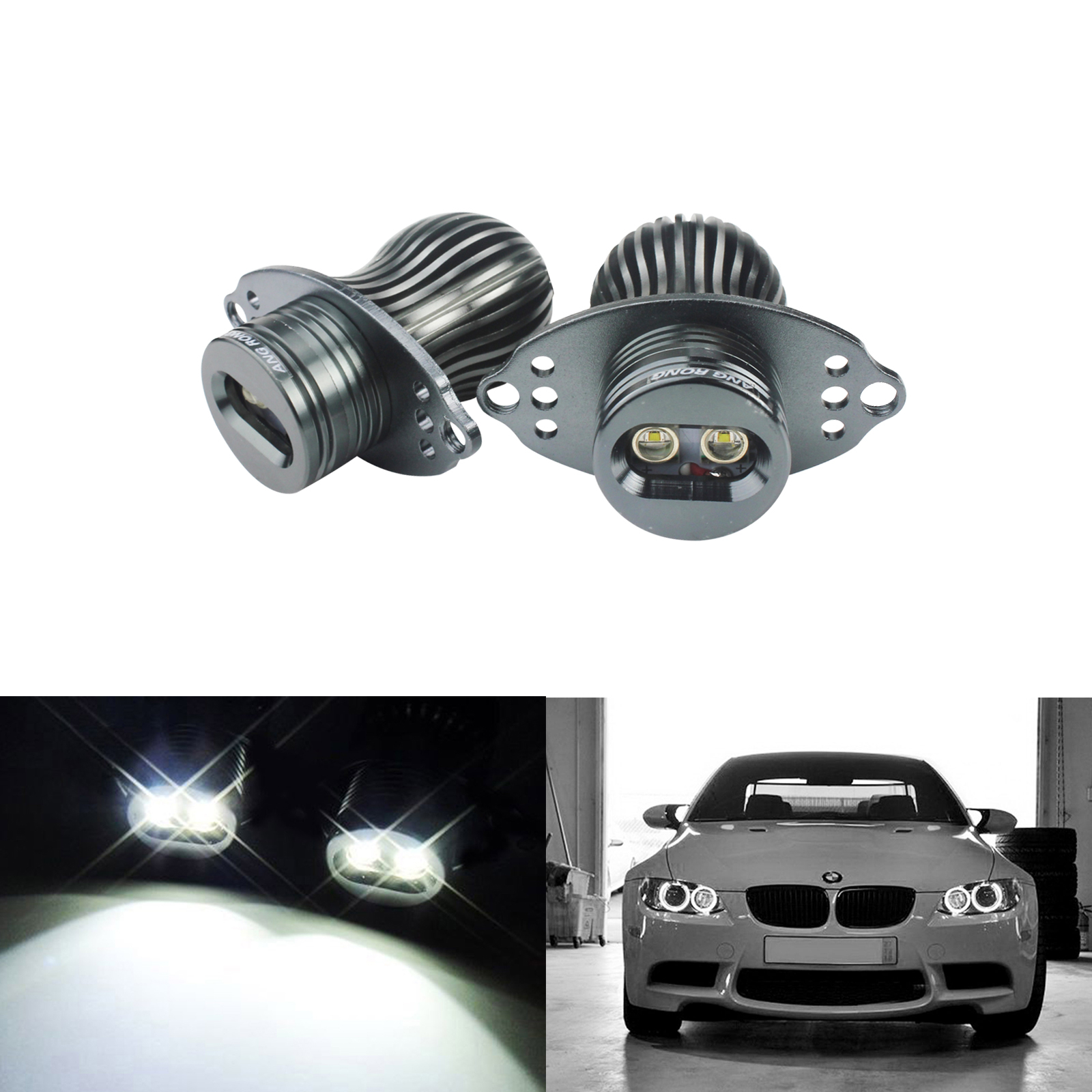 ANGRONG 20W LED Marker Angel Eyes For BMW 3 Series E90 E91 LCI With Halogen HeadLight