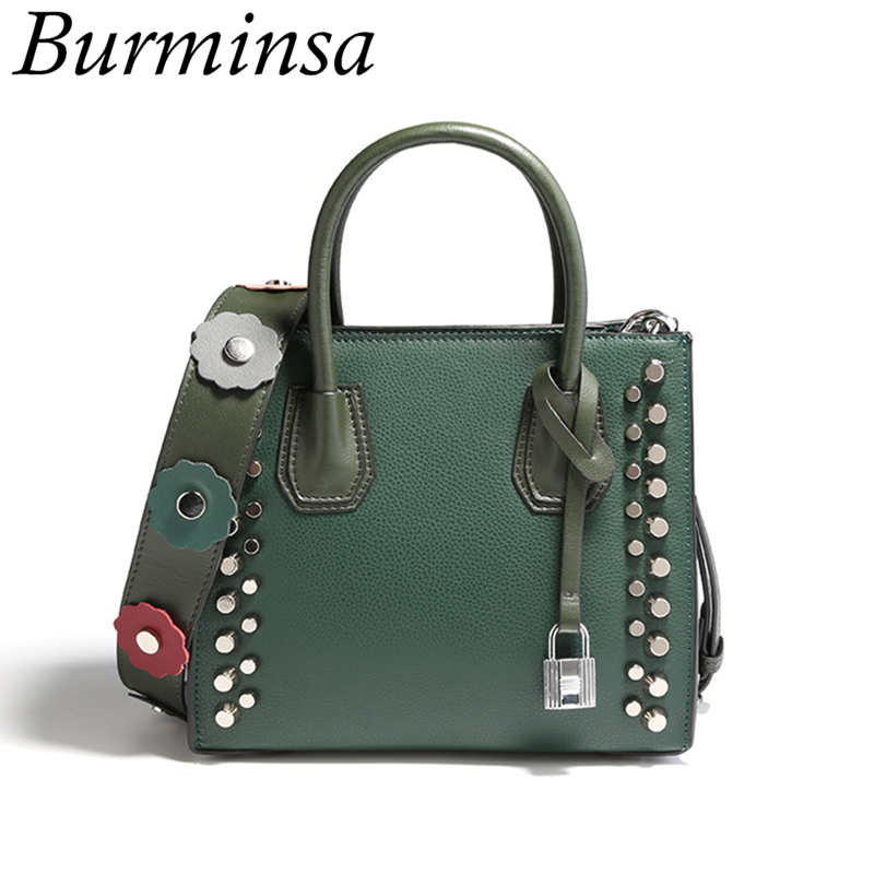Burminsa Brand Small Rivet Genuine Leather Bags Flower Wide Strap Designer Handbags High Quality Tote Shoulder Bags For Women jacques lemans часы jacques lemans 1 1850g коллекция london