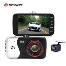 TOPSOURCE 4 inch Car Dvr Camera Dual Lens Full HD 1080P With rear view camera Automobile DVRs Video Recorder Registrator dashcam