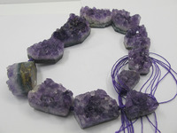 Natural Amethys t Quartz Geode Drusy Bead Pendant High Quality Amehtyst Drusy Pendant 1string=11Bead Pendant Fit Drusy jewelry