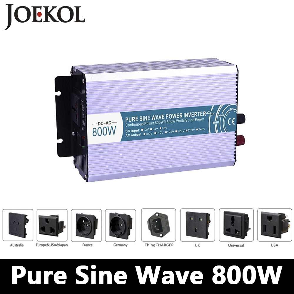 800W Pure Sine Wave Inverter,DC 12V/24V/48V To AC 110V/220V,off Grid Power Inverter,solar Invertor,voltage Converter For Home maylar 22 60vdc 300w dc to ac solar grid tie power inverter output 90 260vac 50hz 60hz