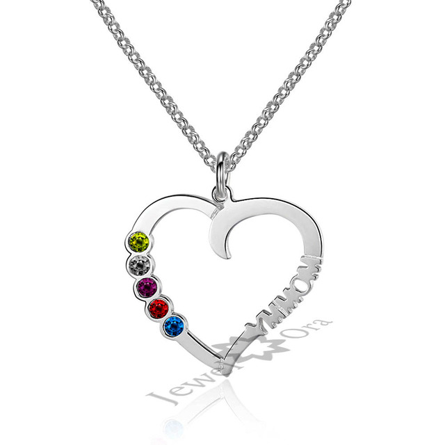 Personalized Custom Birthstone Heart Necklace Unique Gift For Mom Handmade Silver Name Necklace Family Necklace Jewelry
