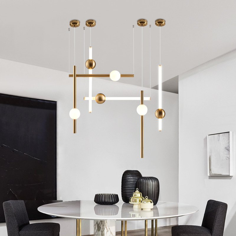 Postmodern Loft Golden Led Pendant Lights Creative Long Stick Noble Designer Pendant Lamps Dining Room Home Decor Light FixturesPostmodern Loft Golden Led Pendant Lights Creative Long Stick Noble Designer Pendant Lamps Dining Room Home Decor Light Fixtures