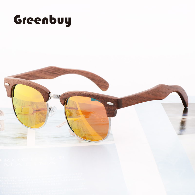 GREENBUY 2019 new fashion retro black walnut half frame sunglasses unisex