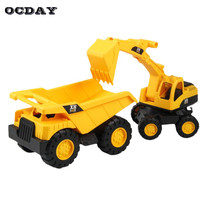 2pcs Lot Engineering Vehicle Kid S Earth Mover Toys Excavator Truck Dump Crane Charging Crane Road