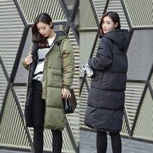Последние зимние мода женщин пальто элегантный с капюшоном большой ярдов толстый средней длины пуховик супер-теплая широкий большой ярдов пальто G0354