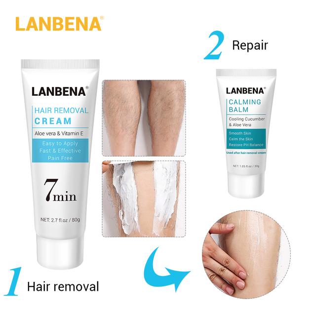 LANBENA Hair Removal Calming Cream Natural Repair Deep Moisturizing Removal Depilation Soothing Nourishing Body Care 30g