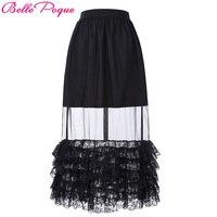 Belle Poque 2017 Fashion Women Summer Long Skirts Ruffle Lace Hem Transparent Vintage Sexy Ladies Girls Black Tulle Gothic Skirt