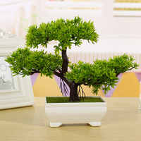 Home Decor 1PC Welcoming Pine Bonsai Simulation Decorative flowers and Wreaths Artificial Flowers Fake Green Pot Plants