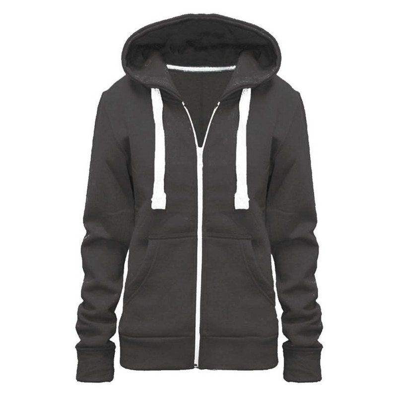 5 Color Solid Women Sweatshirt Casual Autumn Cotton Collar Pockets Coat Lady Hoddies S-XXL