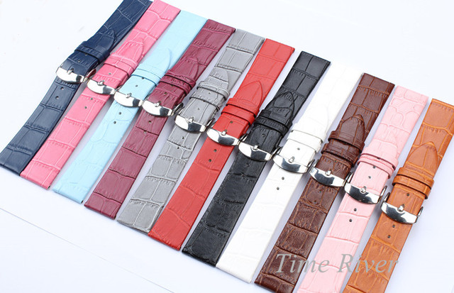 1 Piece Genuine Leather Two Section Crocodile Veins Strap 12mm 14mm 16mm 18mm 20