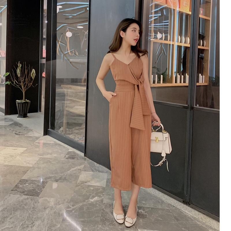 Sexy Jumpsuits For Women Dark Blue Striped Strapless Pants Ladies Fashion Clothing 2019 New Style Bandage Elegant Rompers 3