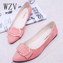 WZV Printemps Automne Femmes Chaussures Bout Pointu Slip-On Plat Chaussures Femme Simples Confortables Appartements Occasionnels Taille 35-41 zapatos mujer