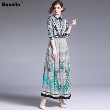 Banulin 2019 Runway Dress Spring High Quality Women Retro Vintage Long Maxi Dresses Designer Vestidos Robe Femme