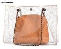 Fashion Women Transparent Shoulder Bag Hot Sale Summer PVC Jelly Candy Handbag Casual Woman Messenger Bags Lady Beach Bag Z01