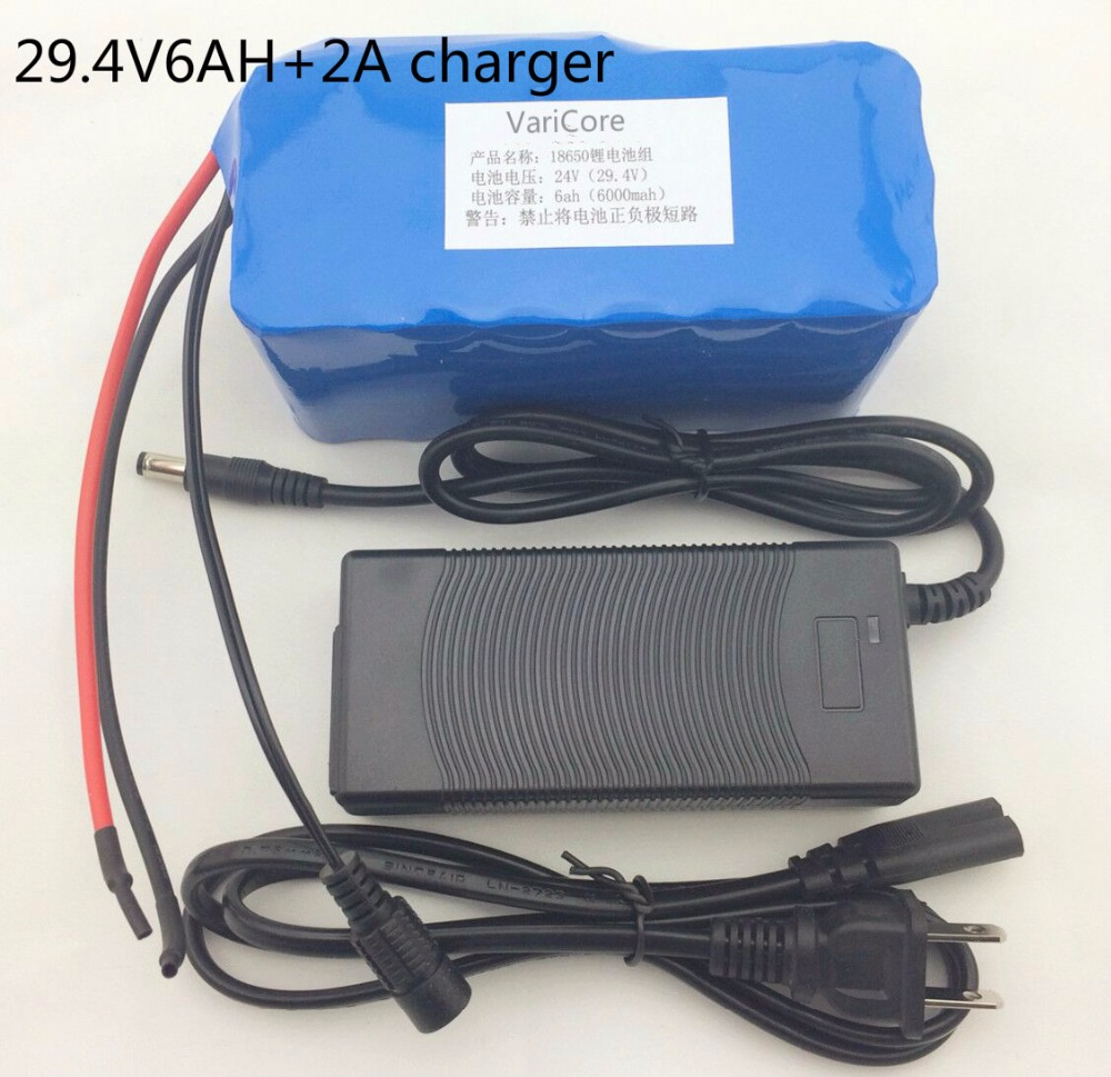 <font><b>24</b></font> 6Ah 7S3P 18650 Lithium <font><b>Battery</b></font> 29.4 <font><b>V</b></font> 6000 mAh electric bike moped / electric / lithium-ion <font><b>battery</b></font> + charger image