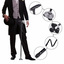 Multifunction Magic Cane Buddy Folding Walking Stick Quad-fold Adjustable Ultralight Stick With LED Lights For Outdoor Travel