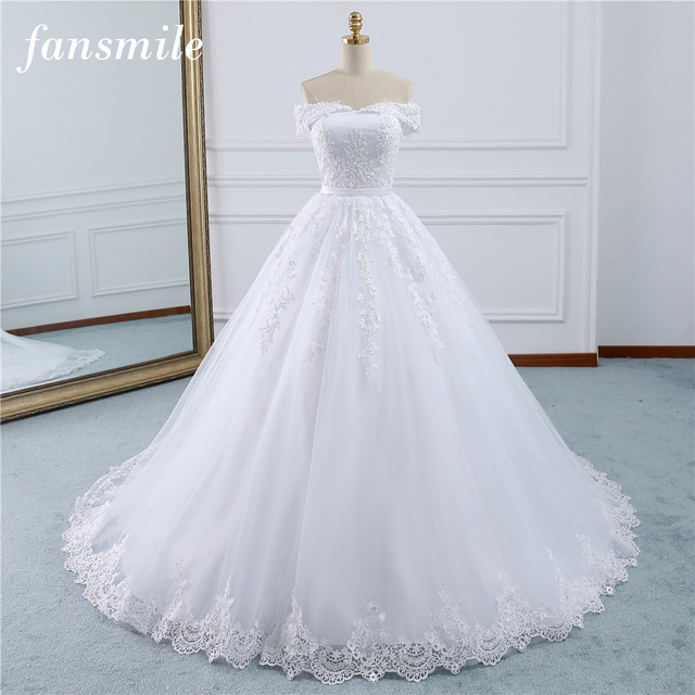 595b956aa3f3d US $96.95 30% OFF|Fansmile 2019 Lace Gowns Wedding Dress Robe Princesse  Mariage Plus Size Long Train Tulle Mariage Bridal Wedding Turkey FSM  433T-in ...